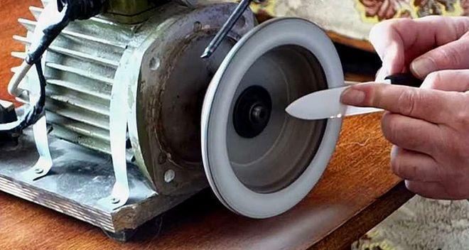Заточка керамического ножа на станке