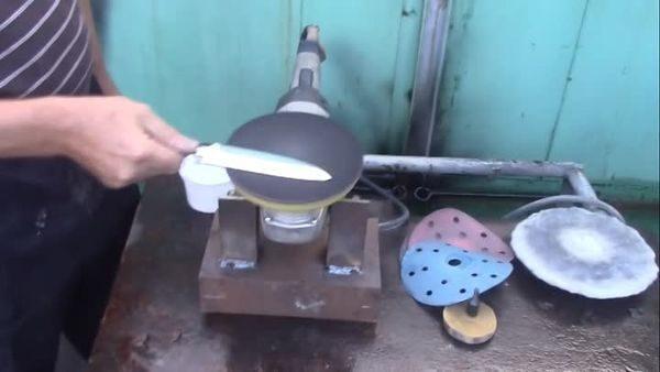 Полировка ножа с помощью болгарки