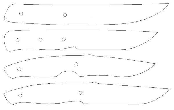 Четыре варианта шаблонов для ножей