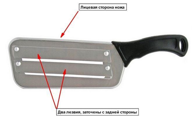 Нож для шинковки с двойным лезвием
