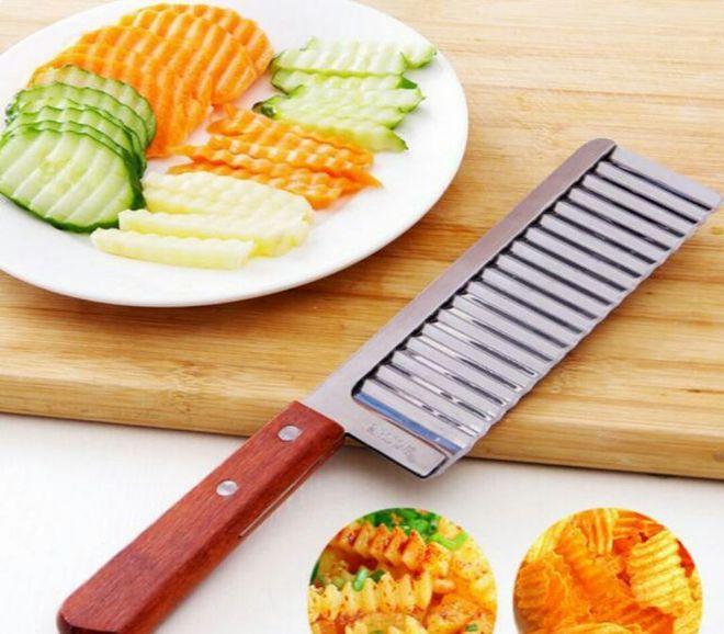 Нож с фигурным лезвием для нарезки картофеля под чипсы и фри