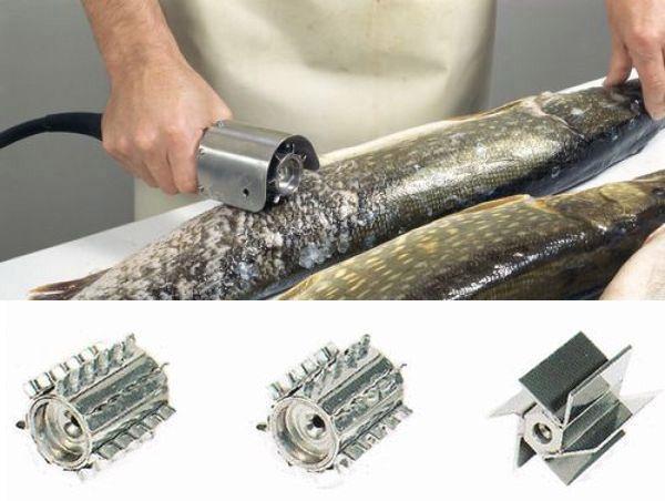 Электрический нож для очистки рыбы от чешуи с насадками