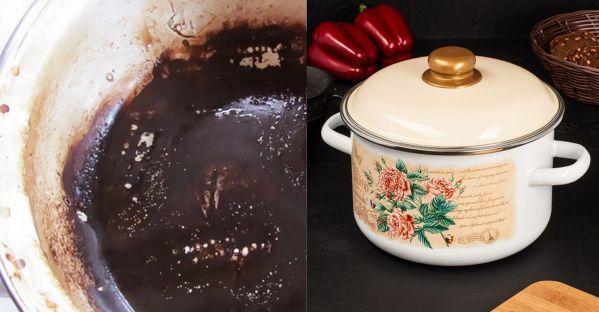 Темное от нагара дно может испортить вид симпатичной эмалированной посуды