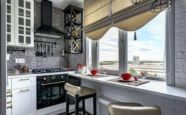 Оформление подоконника на кухне
