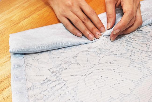Подшив штор вручную