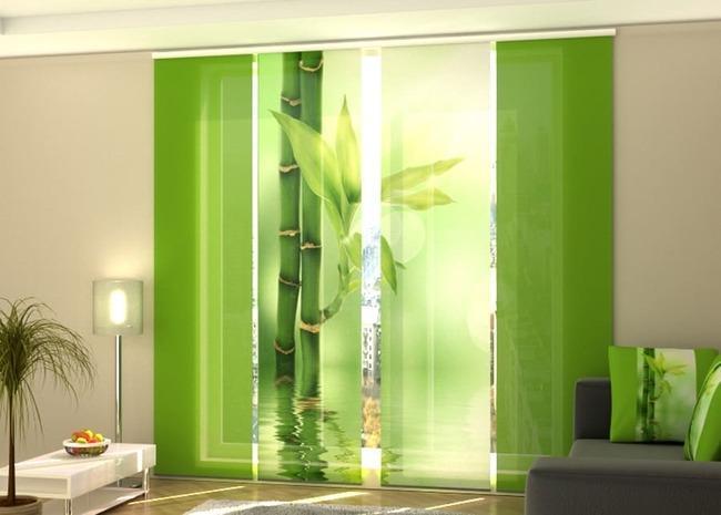 Японские шторы зеленого цвета