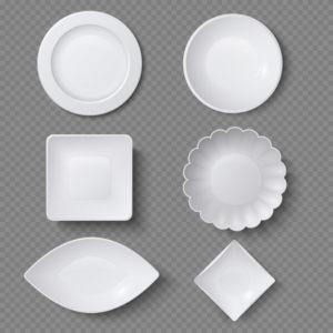 Разные формы тарелок.