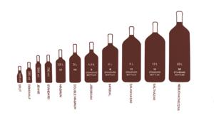 Размер бутылки шампанского: измерение в сантиметрах с пробкой и без