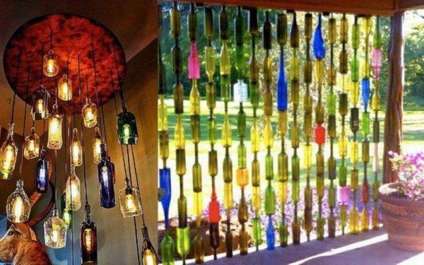 Стеклянные бутылки и интерьере.