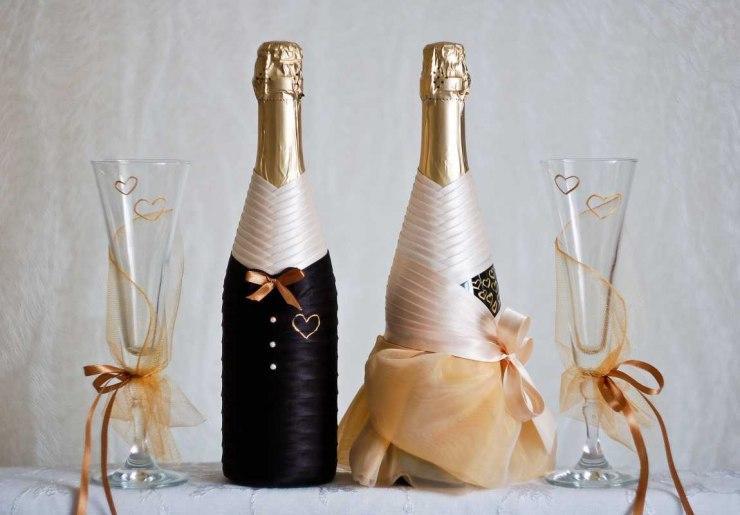 Оформление свадебных бокалов и бутылок своими руками