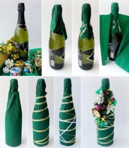 Украшение гофрированной бумагой бутылки шампанского.