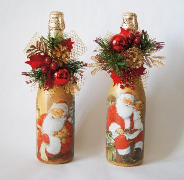 Декор бутылки шампанского на новый год.