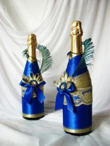 декор бутылок на новый год.