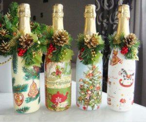 Декупаж бутылки на новый год.