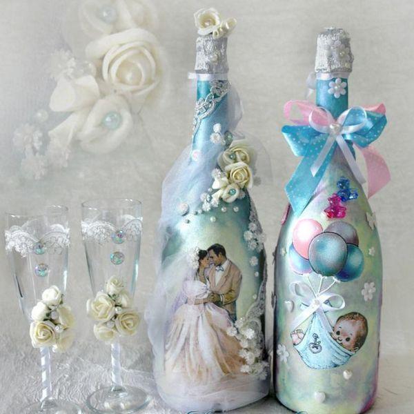 Как украсить бутылку на свадьбу.