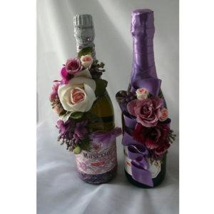 украшение бутылок шампанского на свадьбу.