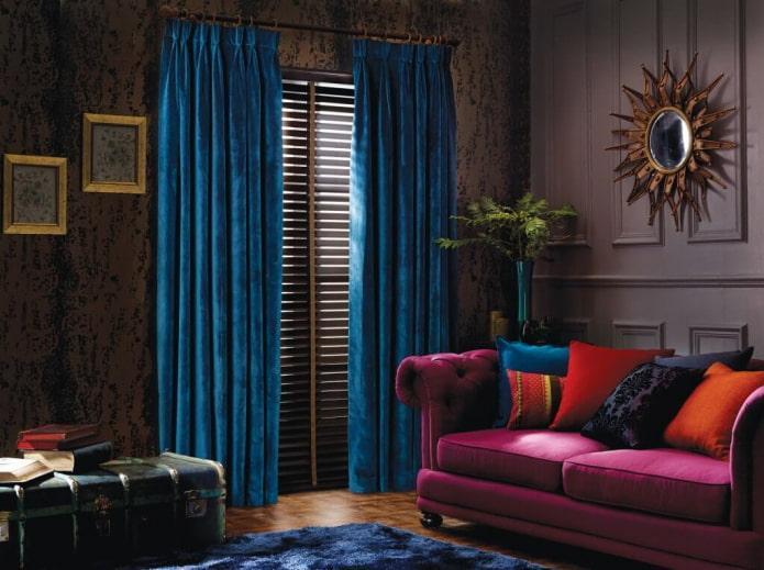 Бархатные шторы синего света
