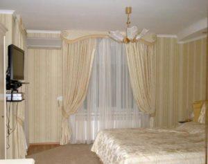 подбор штор и покрывала для спальни.