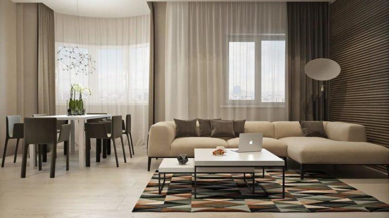 Коричневые шторы в стиле минимализм.
