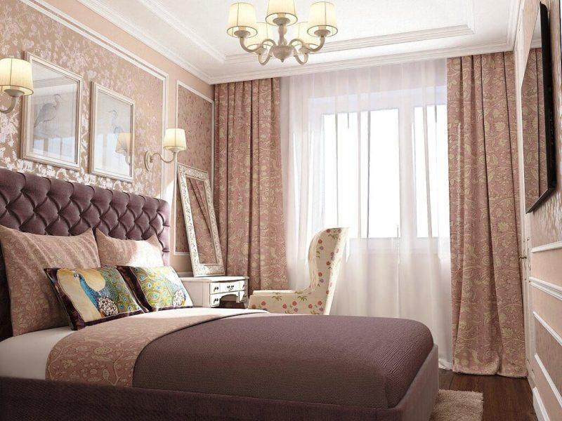 шторы с узором в маленькую спальню.