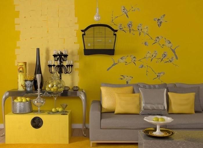 как выбрать шторы к желтым обоям.