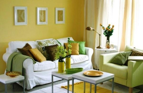 как подобрать шторы к желтым стенам.