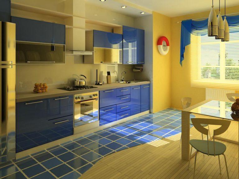 Сочетание синего интерьера с желтыми шторами.