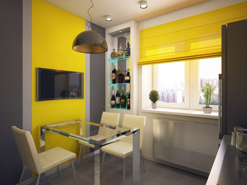 желтые шторы в интерьере.